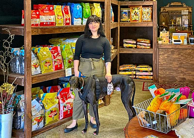 PAIGE WALLACE - Meet Emily Elpusan, and her greyhound Bowie - at The Headstrong Hound. Elpusan opened her new dog and cat supply store on S.E. Foster Road, in the Foster-Powell neighborhood, in late March.