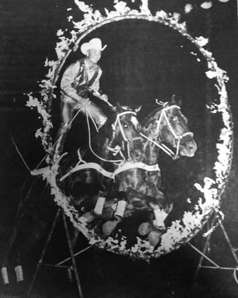 CENTRAL OREGONIAN - April 22, 1971: Neal Schmidt, riding his sorrel horses, will provide plenty of action and excitement for rodeo fans at the 1971 Crooked River Roundup this summer.