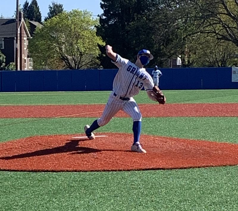 COURTESY PHOTO: MICHAEL VASBINDER - Grant sophomore Kellen Segal pitched a one-hit shutout on April 16 in a 17-0 win over Franklin. His older brother, Kaden, was his catcher.