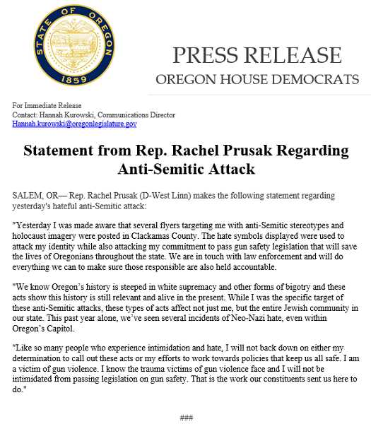 FROM TWITTER - Rep. Rachel Prusak tweeted a press release about the anti-Semitic fliers found in Clackamas County.