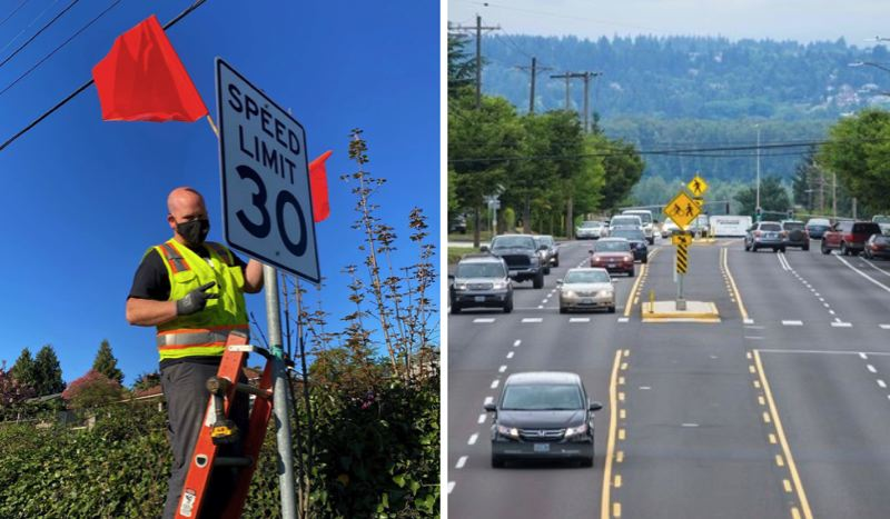 COURTESY PHOTO: PBOT - Portland Bureau of Transportation crews posted new 30 MPH speed limit signs along more than five miles of 122nd Avenue on Wednesday, April 21.