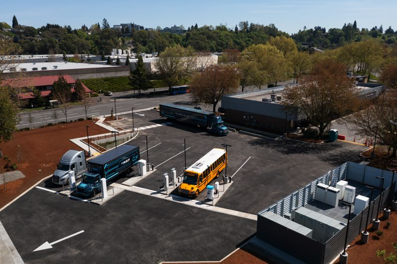 COURTESY PHOTO: DAIMLER TRUCKS NORTH AMERICA  - An aerial view of the new Electric Island charging stations at Swan Island.
