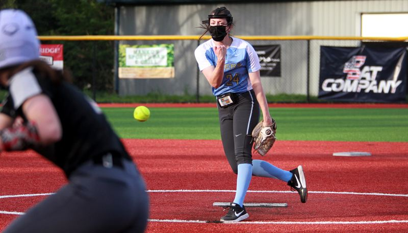 PMG PHOTO: MILES VANCE - Lakeridge junior pitcher Holly Beeman beat Oregon City 4-2 on Wednesday, April 21, at Lakeridge High School, allowing five hits, three walks and one hit batter while striking out 15.