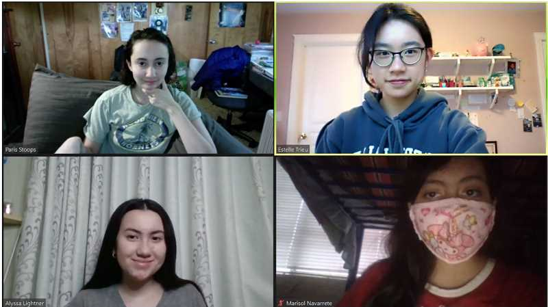 COURTESY PHOTO - Participating in a Unity Club planning meeting are Clackamas Middle College students, clockwise from top left, Paris Stoops, Estelle Trieu, Marisol Navarrete-Suarez and Alyssa Lightner.