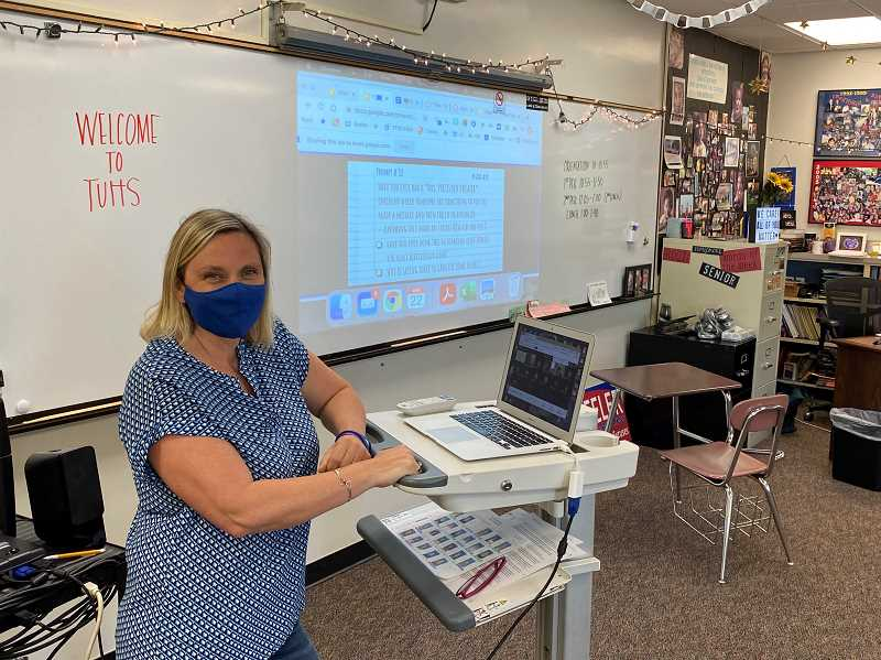 COURTESY PHOTO: MICHAEL DELLERBA - Becky Beeler, an Instructional coach and English teacher, prepares to teacher her ninth-grade students this week.