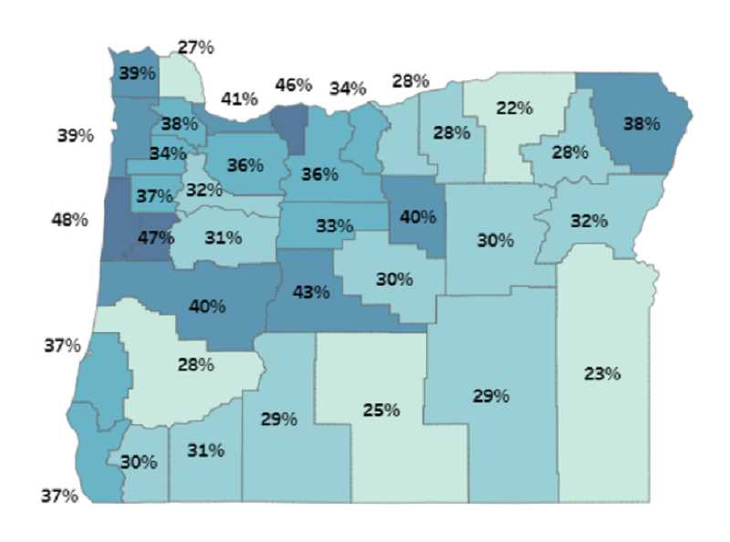 OREGON HEALTH AUTHORITY - The map shows vaccination rates as of April 19. In Columbia County, 27% of residents had received at least one shot of a COVID-19 vaccine.