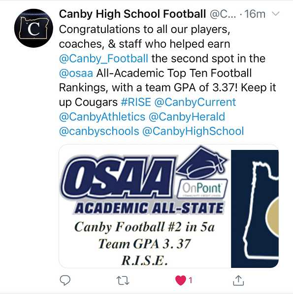 PMG SCREENSHOT: TWITTER - Canby High School football took to Twitter to congratulate the team on snagging the No. 2 spot in the academic all-state awards.