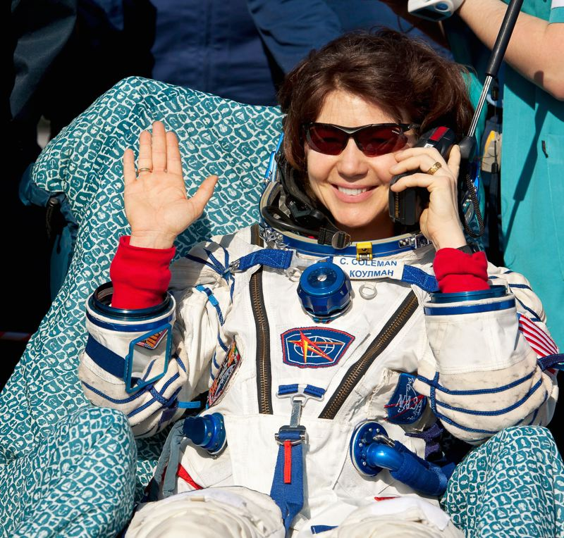 COURTESY PHOTO - Cady Coleman relaxes after returning to Earth from ISS in 2011.