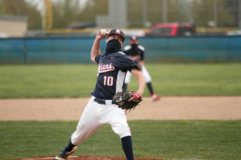 PMG PHOTO: PHIL HAWKINS - Dylan Kleinschmit pitched 3 and 1/3 perfect innings to earn the win in the Trojans' 14-2 victory at St. Paul on Friday. Kennedy has opened the season 5-0, outscoring opponents 74-3 in the first two weeks of the season.