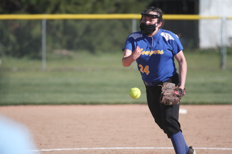 PMG PHOTO: PHIL HAWKINS - Senior pitcher Marisol Ayala and the Gervais softball team have improved defensively each week.  After surrenduring 27 runs in the teams season opener, the Cougars gave up 13 runs to Kennedy on April 15 and just five runs to Jefferson in the teams first win of the season on April 20.