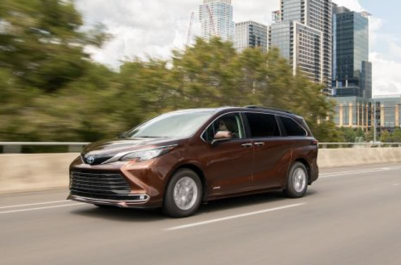 COURTESY TOYOTA - The 2021 Toyota Sienna minivan has been trnaformed into a stylish family hauler that comes standard with fuel-efficient hybrid power and optional all-wheel-drive for better traction.