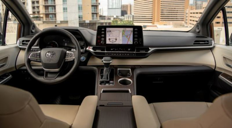 COURTESY TOYOTA - The interior of the 2021 Toyota Sienna is thoroughly contemporary and can be ordered with practically all the most advanced automotive technologies.