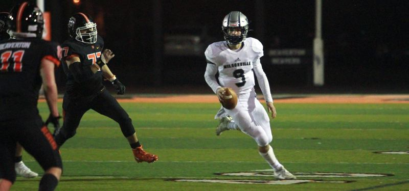 OMG PHOTO: MILES VANCE - Wilsonville senior quarterback Jayce Knapp was another key cog in the Cats' perfect 2021 footbll campaign.