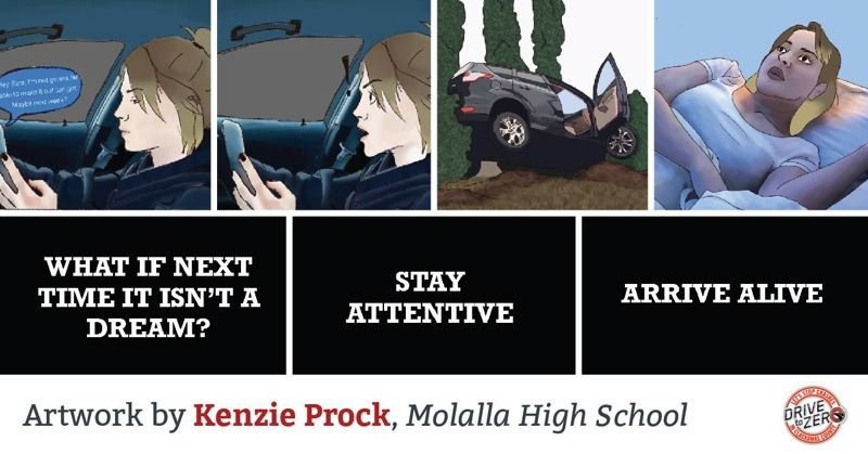 COURTESY OF CLACKAMAS COUNTY - Clackamas County's 2020 'Drive to Zero' art contest winner Kenzie Prock of Mollala High School.