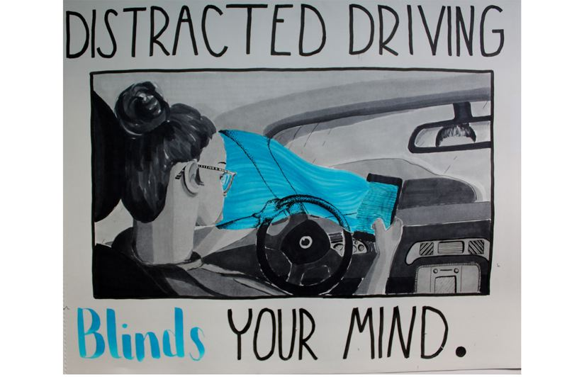 COURTESY OF CLACKAMAS COUNTY - Clackamas County's 2020 'Drive to Zero' art contest honorable mention, Gillian Moore of Sandy High School.