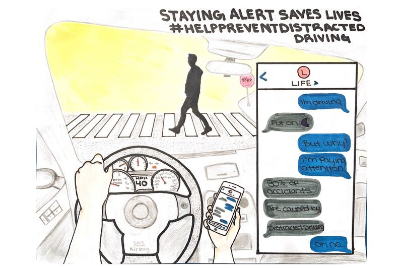 COURTESY OF CLACKAMAS COUNTY - Clackamas County's 2020 'Drive to Zero' art contest honorable mention, Kyra Schulz of Rex Putnam High School.