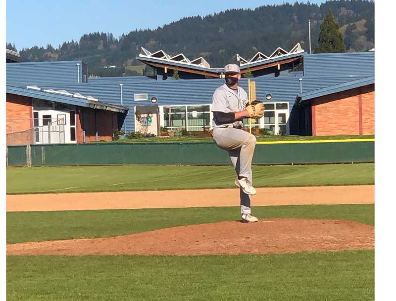 COURTESY PHOTO - Southridge junior pitcher and first baseman Jacob Dodge pitching on the mound. Dodge has committed to play at the University of Oregon.