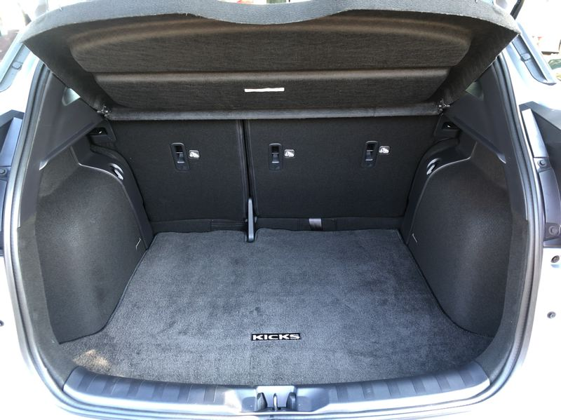 PMG PHOTO: JEFF ZURSCHMEIDE - The 2021 Nissan Kicks has 25.3 cubic feet in the back with the rear seats folded up, which is enough room for a standard adult bicycle.