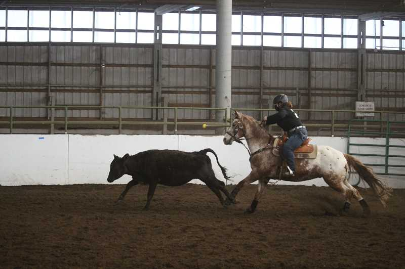 COURTESY PHOTO - Colton's Tina Reed competes in steer daubing.