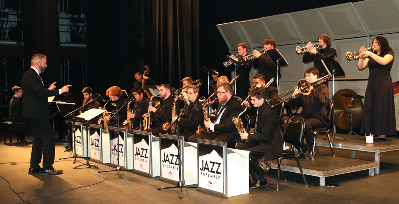 COURTESY PHOTO: MT. HOOD COMMUNITY COLLEGE - The Mt. Hood Jazz Festival is being revived and the college jazz band, seen here before the pandemic, will perform at 1 p.m. Friday, April 30. Theyre being directed by Dan Davey, director of jazz studies at Mt. Hood Community College.