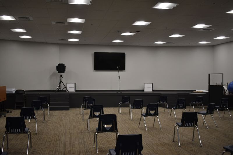 PMG PHOTO: TERESA CARSON - The new 18,000 square-foot schoolhouse includes this great room which can be used for big school meetings.