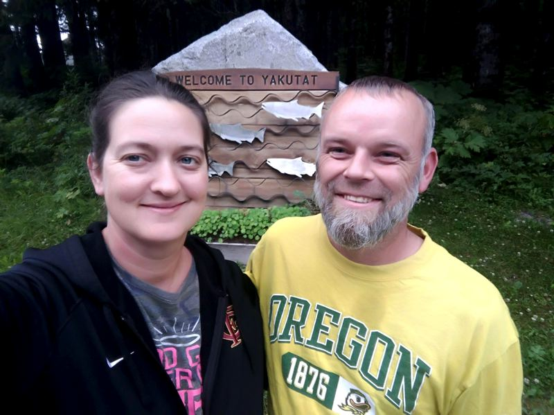 COURTESY PHOTO: MARSHALL FAMILY - Sara and James Marshall pose for a photo together in Yakutat, Alaska. Sara Marshall is seeking answers after her husband died following an altercation with Forest Grove police last October.