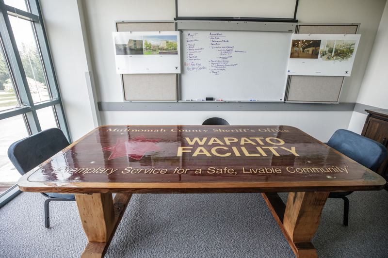 PMG PHOTO: JONATHAN HOUSE - The former Wapato Facility sign, now used as an office meeting table.