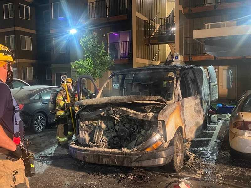 COURTESY PHOTO: TVF&R - Fire crews from TVF&R and the Dundee Fire Department extinguished a fire in a service van Sunday evening in Newberg.