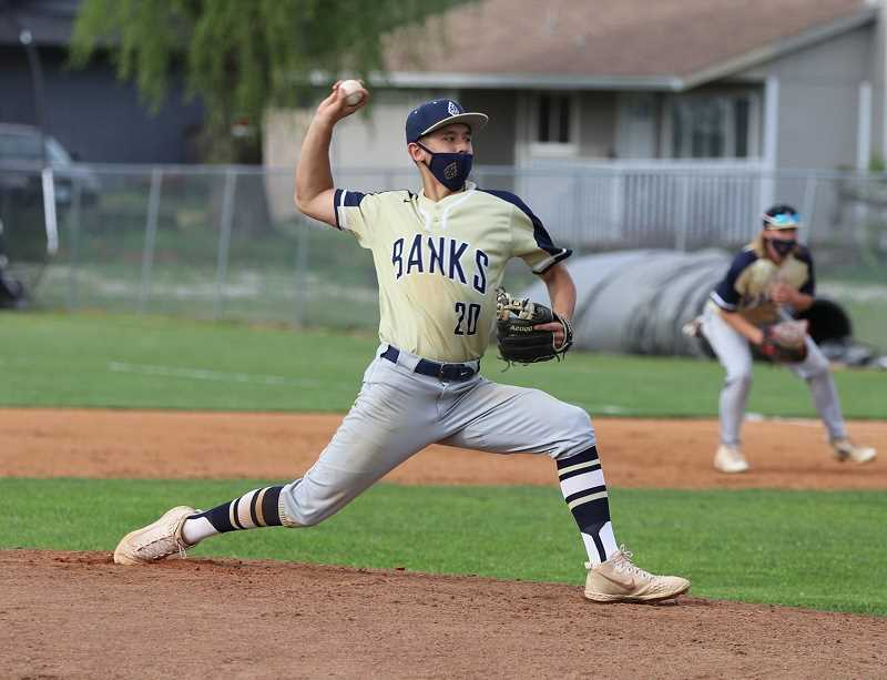 COURTESY PHOTO: STEWART MONROE - Banks' Cam Louie hurls a pitch during one of the Braves' six wins to start the season. The Braves are aiming to repeat as state baseball champions after winning in 2019 and having last season canceled due to COVID.