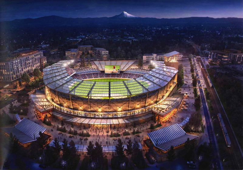 COURTESY RENDERING: SHANE BEMIS - Concept art of what an MLB stadium in Gresham could look like.