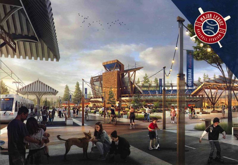 COURTESY RENDERING: SHANE BEMIS - A potential stadium in Gresham would serve as the centerpiece for an entertainment complex with business, housing and community gathering spaces.