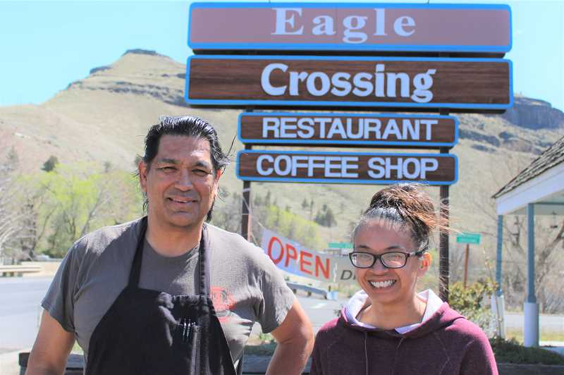 PAT KRUIS/MADRAS PIONEER   - Randy Nathan owns the Eagle Crossing Restaurant on the Warm Springs Reservation. Robinique Hatlestad works there. They both say a new walkway will improve safety for many who live on the reservation.
