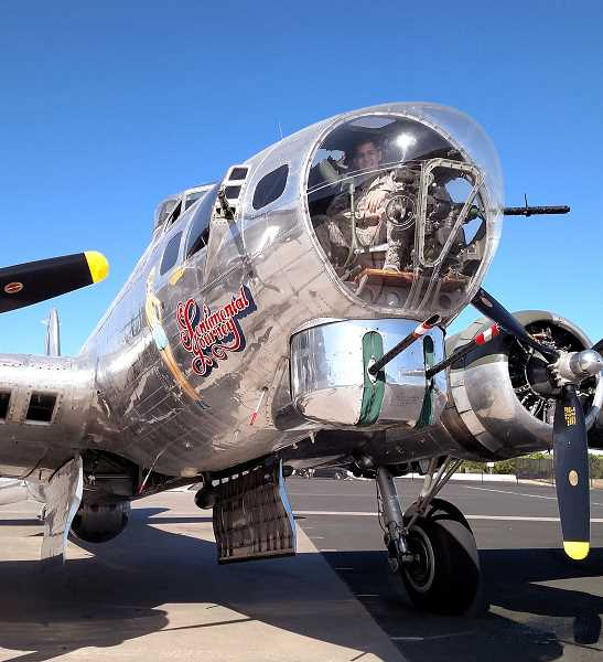 PHOTO COURTESY OF THE AIRSHOW OF THE CASCADES  - World War II B-17 Bomber Sentimental Journey, from Arizona, will perform with Ye Olde Pub on Saturday, Aug. 28 during the Airshow of the Cascades. Visitors will have a chance to purchase a ride on one of the B-17s.