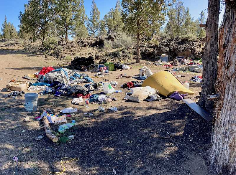 PHOTO COURTESY OF FANS   - The Steamboat Rock area of BLM property off of Lower Bridge Road before volunteers with Friends and Neighbors of the Deschutes Canyon Area cleared away trash.