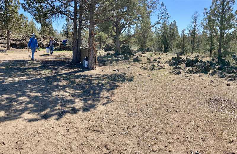 PHOTO COURTESY OF FANS   - The same area after FANS volunteers cleared away trash. The Earth Day project covered 40 acres near the rim of the Deschutes River Cayon.