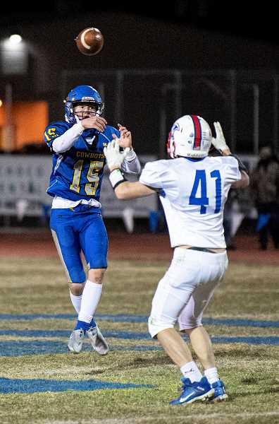 CENTRAL OREGONIAN - Crook County quarterback Hogan Smith, 15, earned the Tri-Valley offensive co-player of the year honor, along with Gladstone's Sabastian Peiffer. Smith was also a first-teamer on defense.