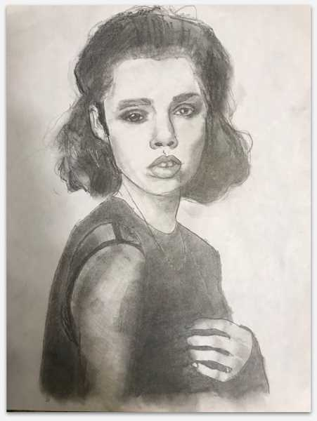 COURTESY PHOTO - Carlin Dudevoir of Milwaukie Academy of the Arts took first place in the ninth-grade category for a pencil and charcoal drawing called 'A Woman's Stare.'