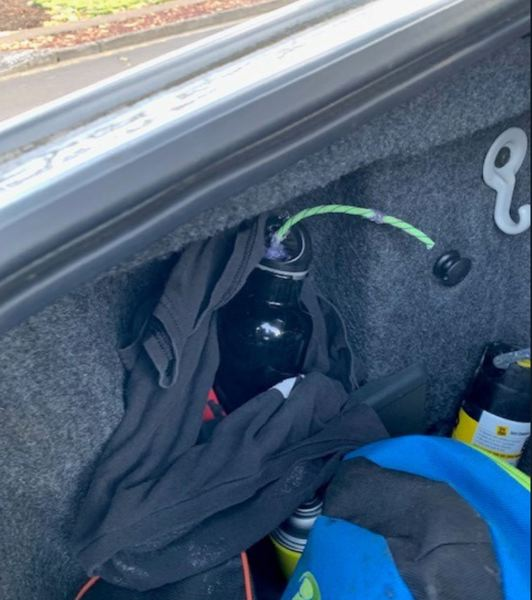 COURTESY PHOTO: WASHINGTON COUNTY SHERIFF'S OFFICE - Washington County sheriff's deputies recovered a device they said contains three-quarters of a pound of explosive powder from a vehicle's trunk in Cornelius on Tuesday evening, April 27.