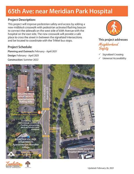 COURTESY GRAPHIC: CITY OF TUALATIN - The city is looking at two possible locations for a new crosswalk along Southwest 65th Avenue in front of Meridian Park Medical Center.