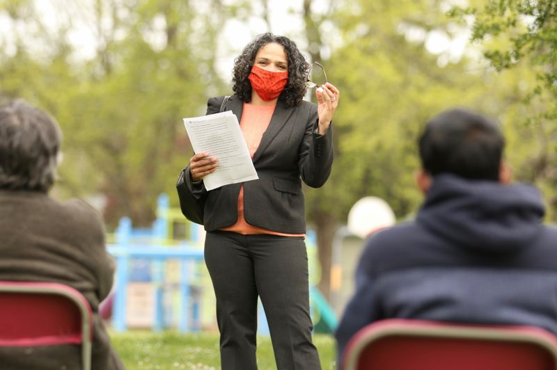 COURTESY PHOTO: PP&R - Portland Parks & Recreation Director Adena Long addressed a crowd at Mill Park on April 22.