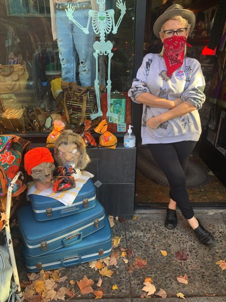 COURTESY PHOTO: VENTURE PORTLAND  - Venture Portland and the neighborhood business associations such as the St. Johns Boosters Business Association have been finding new ways to have in person celebrations and promotions to boost business under COVID-19 restrictions. Stephanie Calvert of Hound & Hare Vintage was part of a a scavenger hunt clues in the windows of 10 businesses. VP gave away 100 pumpkins (donated by Topaz Farms) and held a decorating contest on Instagram with custom-made prizes donated by A Nice Lady in St. Johns  .