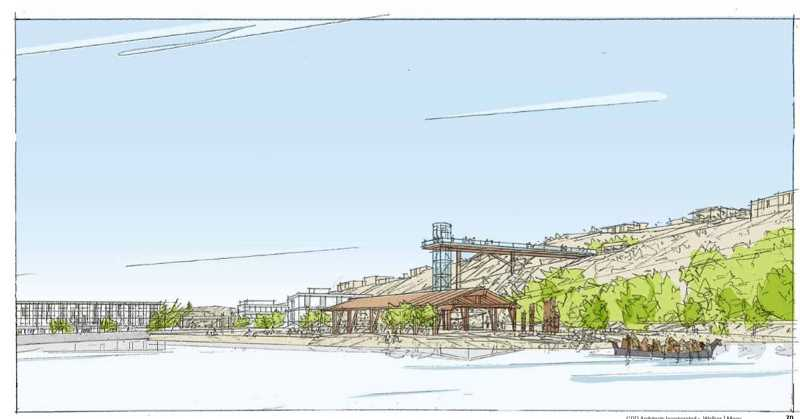 COURTESY RENDERING - A perspective sketch from the lagoon above Willamette Falls looks north across a section of the former paper-mill site proposed for removal and riverbank restoration.