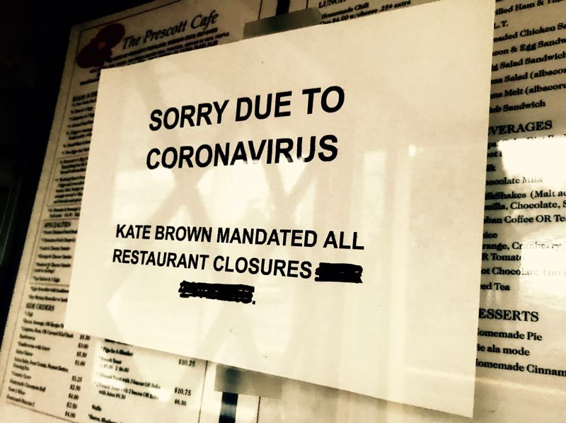 PMG PHOTO: ZANE SPARLING - The Prescott Cafe in Portland's Cully neighborhood was closed due to coronavirus restrictions ordered by Oregon Gov. Kate Brown.