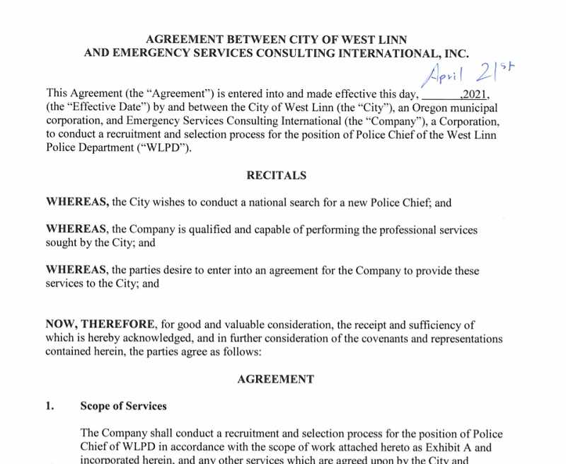 PMG SCREENSHOT - Emergency Services Consulting International will lead West Linn's search for a new police chief.