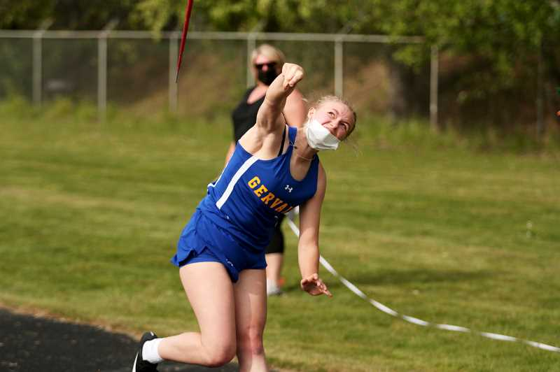 PMG PHOTO: PHIL HAWKINS - Gervais sophomore Lilly McCargar set a personal record in the javelin with a throw of 120-07, a mark that is both third in the state at the 2A level and ranks third overall in the Gervais High School record books behind Alex Stricker (125-08) and Tiana Andreeff (124-05).