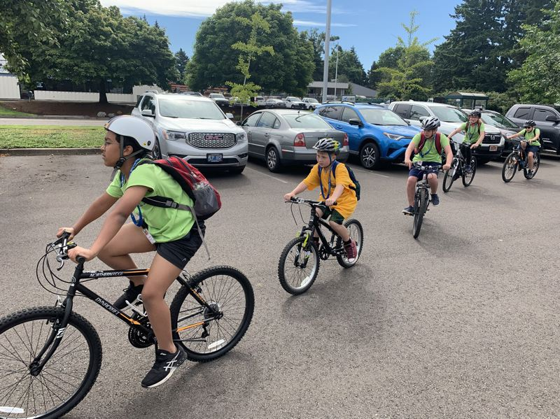 COURTESY PHOTO: WASHCO BIKES - Kids participate in a bike education during a WashCo Bikes summer camp prior to the pandemic.