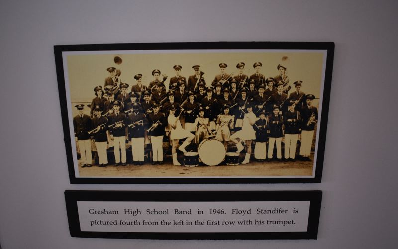 PMG PHOTO: TERESA CARSON - One of the photos of noted musician Floyd Standifer with the Gresham High School band in 1946. Standifer is fourth from the left in the front row, holding his trumpet.