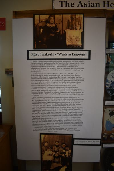 PMG PHOTO: TERESA CARSON - Early Japanese resident Miyo Iwakoshi is also featured in the exhibit at the Gresham History Museum.