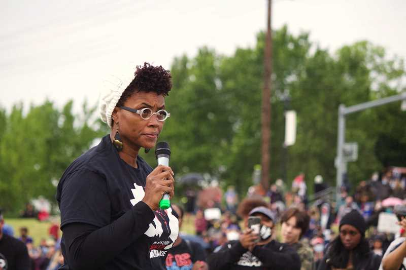 PMG PHOTO: SAM STITES - Libra Forde, a North Clackamas School Board member, speaks about systemic racism at a Black Lives Matter event last summer.