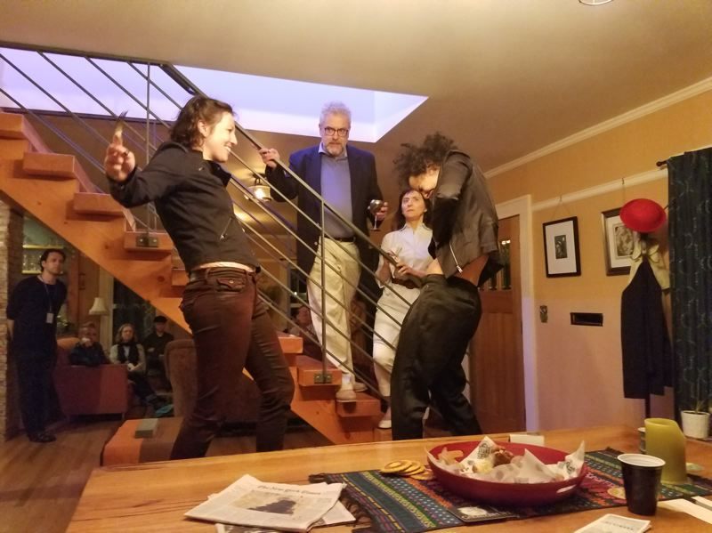 COURTESY PHOTO: BETSIE HEART - Speculative Drama puts on plays in intimate environments, including 'Hamlet' at a Southeast Portland home in 2019. Pictured here are (clockwise from top) Claudius (John Aney), Gertrude (Tamara Sorelli), Laertes (Myla Johnson) and Hamlet (Isabella Buckner).